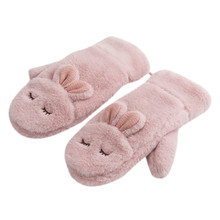 Mittens Glove Warm Winter Women Cute New-Fashion Kawaii for Fur Wool Ot23 Concise-Style