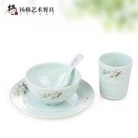 4 unids/set chino tradicional Boles y cuencos de arroz casa sopa conjunto incluye Placas restaurant vajilla al por mayor