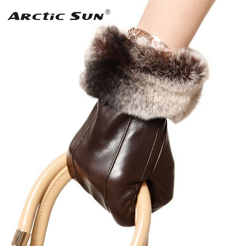 Fashion Women Sheepskin Gloves High Quality Genuine Leather Five Finger Rabbit Hair Elegant Winter Lady Driving Glove EL024NC