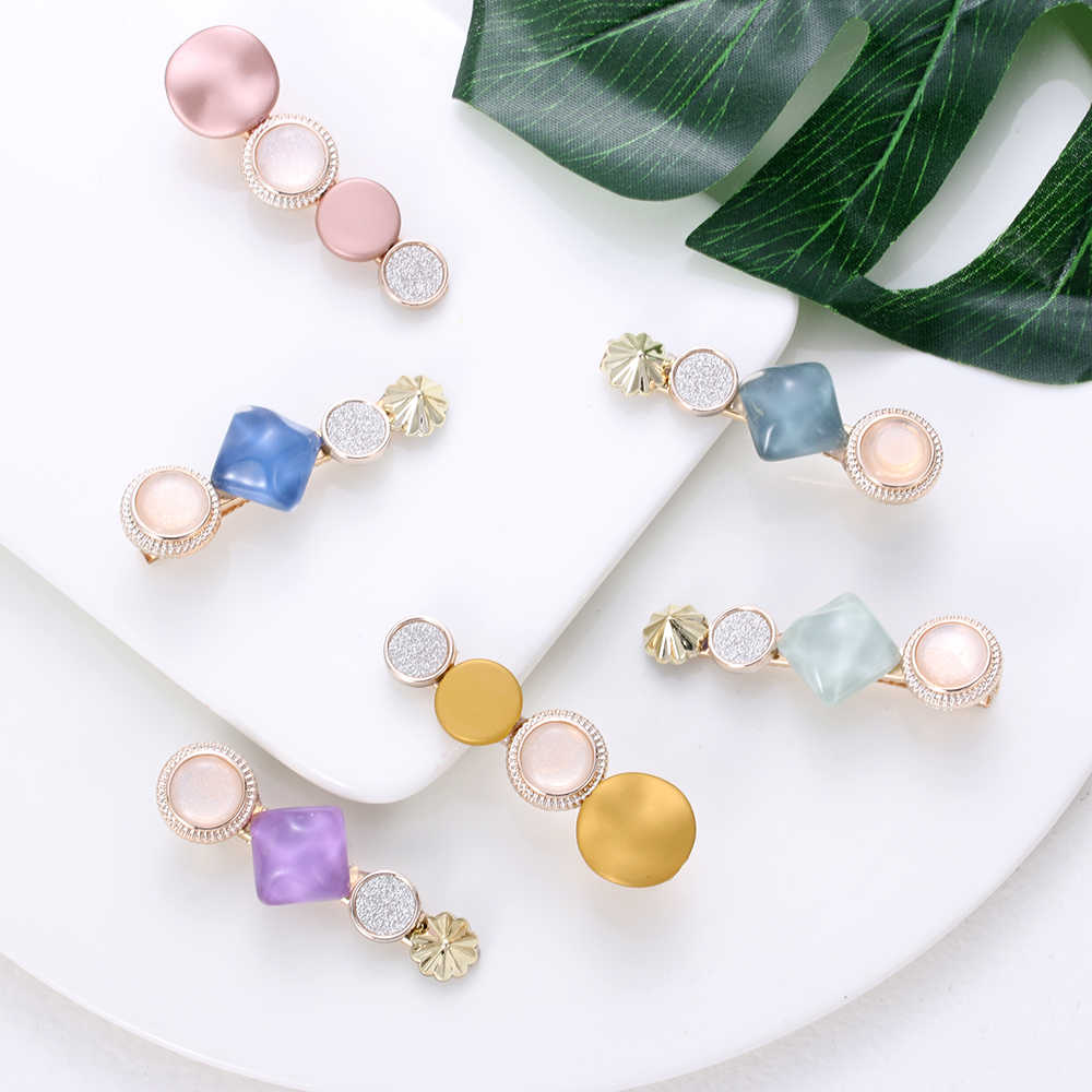 Korea Japan Fashion Acetate Hairpins for Women Hair Clips Girl Colorful Beads Barrettes Wedding Party Geometric Hair Styling