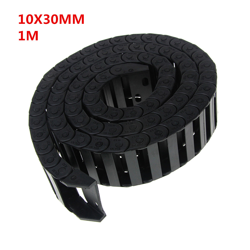 10 X 30mm 10*30mm L1000mm 10x30mm Cable Drag Chain Wire Carrier With End Connectors For Cnc Router Machine Tools