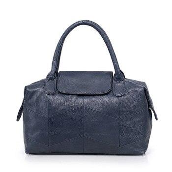 Nesitu New Fashion Casual Black Grey Red Blue Genuine Leather Women Handbag Female Totes Lady Shoulder Messenger Bags M8913