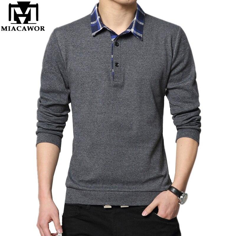 MIACAWOR Plus Size Men   Polo   Shirt Fashion Design Camisa   Polo   Spring Autumn Long Sleeve Men   Polo   4XL 5XL Camisa Masculina T666