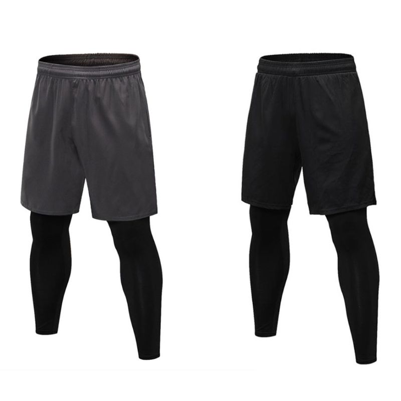Mens Plus Size Training Basketball Sports Shorts Tights Drawstring Waistband Baselayer Split Fitness Leggings With Pockets