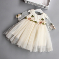 Dziewczyny Dress Wiek 2-7Years Dzieci Sukienki dla Dziewczynek Ubrania Kwiatowy Wzór i Woalu w Rękawy Dzieci Odzież z haft