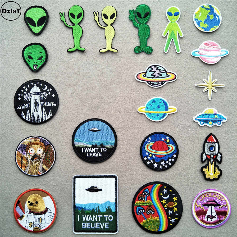 1 PCS UFO Alien Iron on Patches for Clothing Stickers Astronaut Stripes Appliques on Clothes Space Planet Embroidery Badges