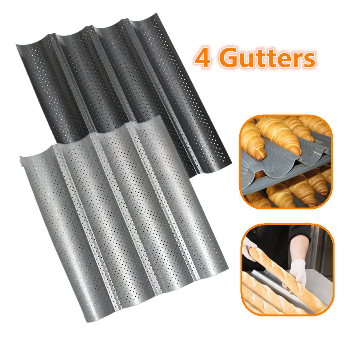 Non-stick Perforated Baguette Pan French Bread Pan Wave Loaf Bake Bakeware Mould Kitchen Appliance Parts