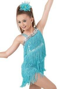 Image 3 - เด็กเด็ก Professional ชุดเต้นรำละตินสำหรับสาวเต้นรำชุดเด็กสีม่วงเลื่อม Fringe Salsa พู่
