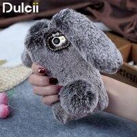 Dulcii For Huawei Y5II Honor 5 TPU Cases Rabbit Shape Fluffy Warm Fur TPU Cell Phone
