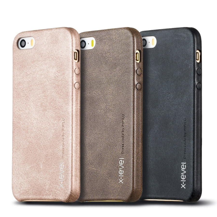 XLevel Leather Phone Case For IPhone 5 Cases For IPhone 5S Back Cover For IPhone SE Business Vintage Half-wrapped Case Apple