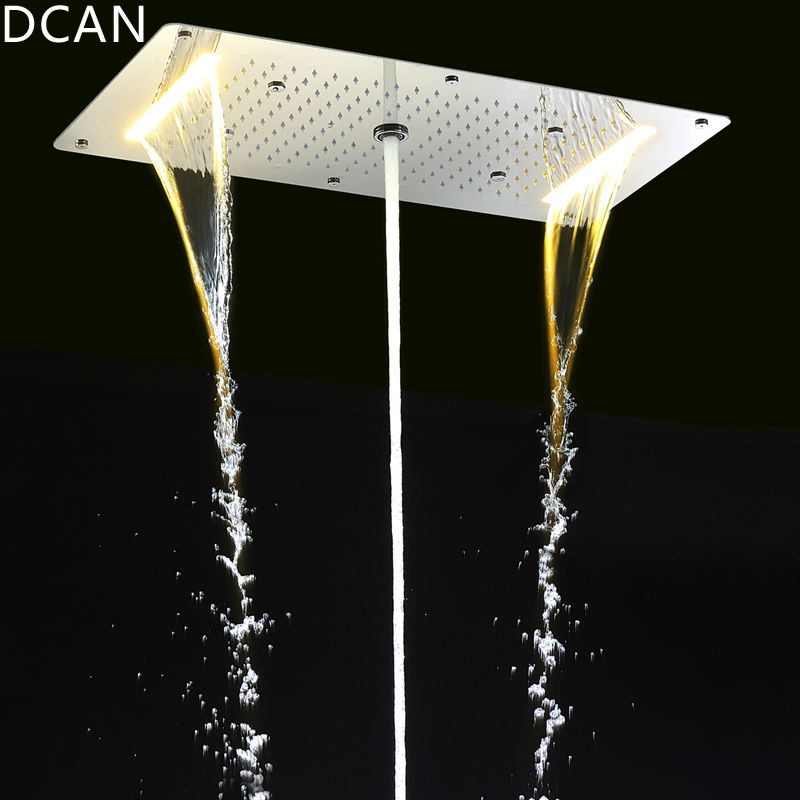 9 Function Shower Heads Light Big Rain Shower 700x380mm Large Waterfall Multi Function Ceiling Mount Overhead Led Shower Head