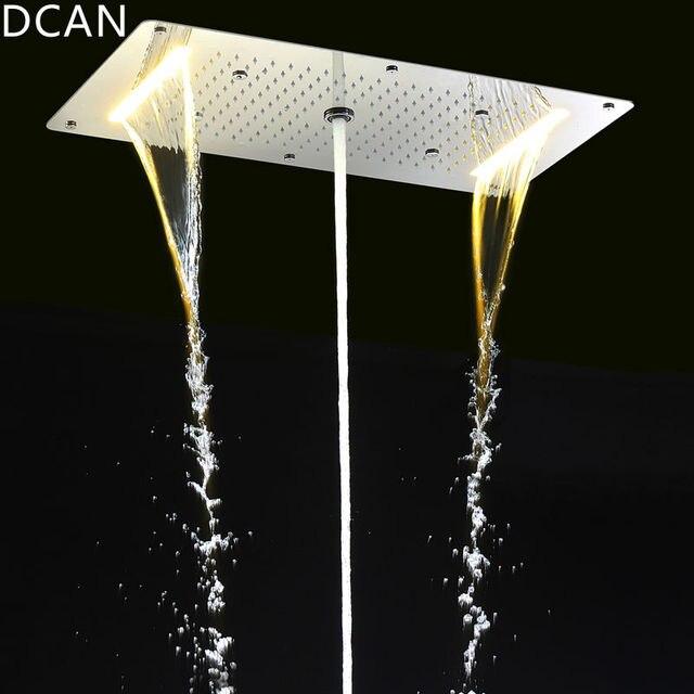 9 Function Shower Heads Light Big Rain Shower 700x380mm Large Waterfall Multi Function Ceiling Mount Overhead Led Shower Head