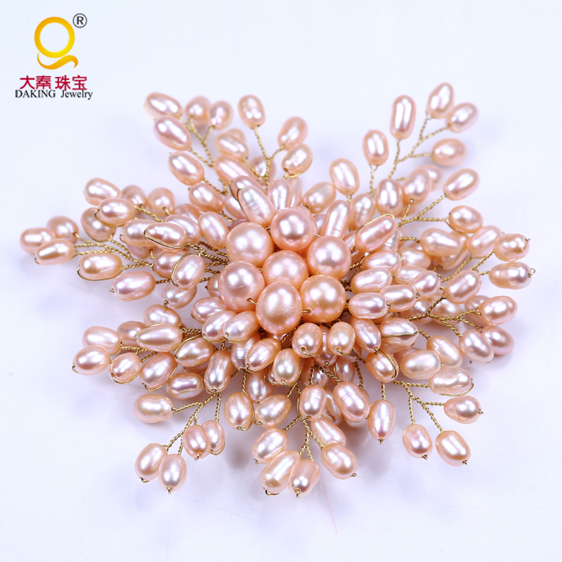 High quality gold wire winding of pearl bead flower large brooch women wedding bridal party brooch jewelry fake pearl flower shape brooch