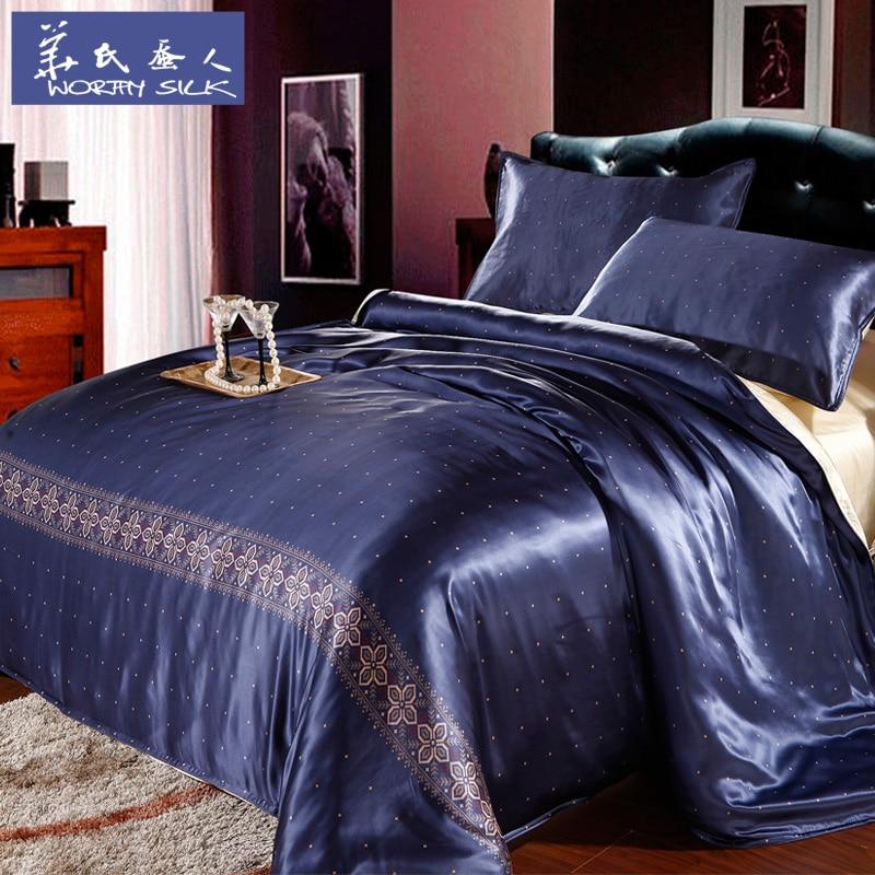100% шелк тутового американский Синий Star домашний Текстиль King/королева 4 шт. шелка встроенные лист пододеяльник наволочка постельного белья