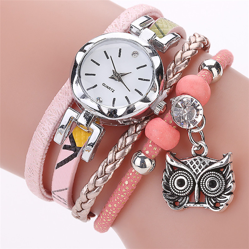 Fashion Women Girl Watches Owl Pendant Bracelet Ladies Dress Watch Leather Strap Quartz Wristwatch Luxury Casual Clock Relogio#c