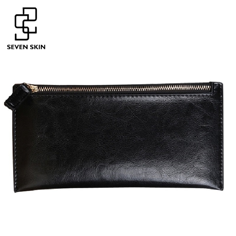 SEVEN SKIN Brand 2017 Leather Women Wallet Solid Zipper Wallets Purse Multiple Cards Holder Clutch Women Long Carteira Feminina