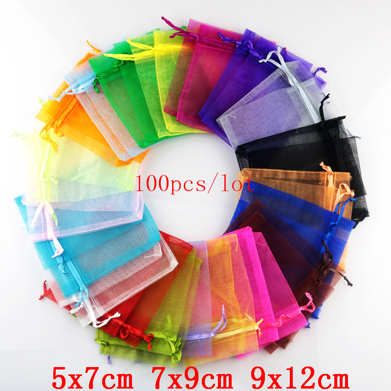 100pcs/lot 5x7 7x9 9x12cm Small Organza Bags Wedding Party Favor Candy Gift Bag Nice Goodies Jewelry Packaging Bags & Pouches
