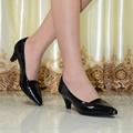 Hight quality women's genuine leather med heels shoes Classic Sexy Pointed toe pumps dress shoes for office ladies shoes 2588-15