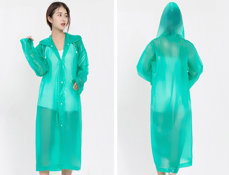 17.Fashion EVA Women Raincoat Thickened Waterproof Rain Coat Women Clear Transparent Camping Waterproof Rainwear Suit Rain jacket_