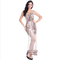 Spaghetti Strap Party Dresses Autumn Sexy Deep V Neck High Slits Bustier Dress Gold Sequined Maxi