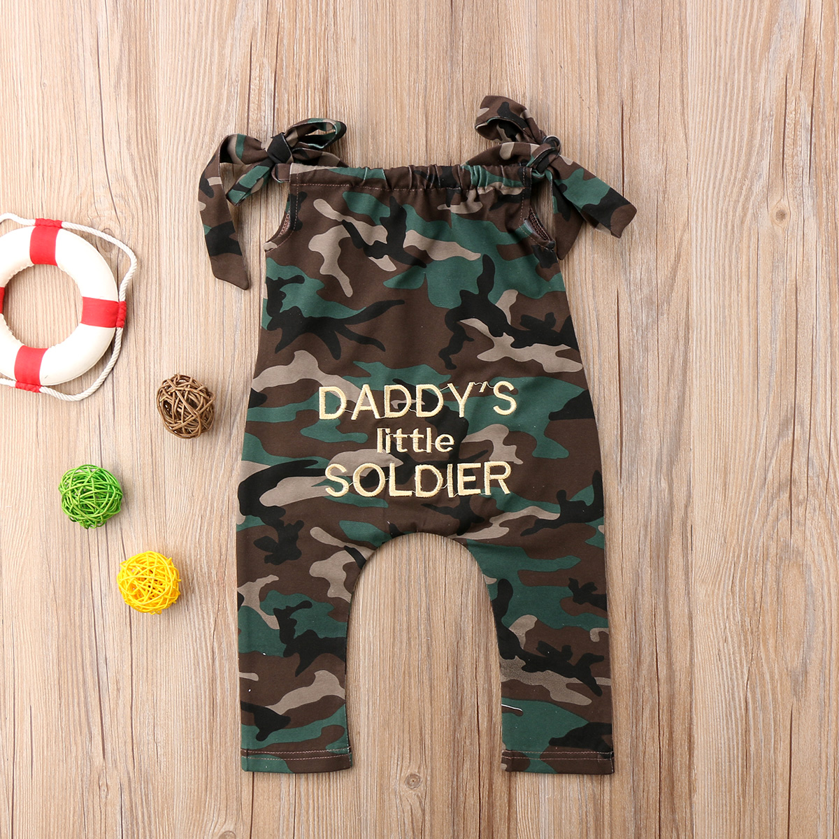 ba4b56ccc83 Aliexpress.com   Buy Newborn Kid Baby Girl Toddler Camouflage Romper  Jumpers Clothes Outfits Playsuit Army Green Letter Print Strap from  Reliable Clothing ...