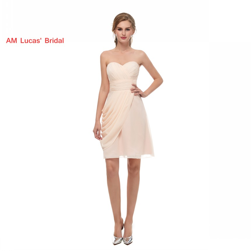 Simple 2019 New   Bridesmaid     Dresses   Pleats Chiffon In Stock Wedding Party   Dress   About Knee