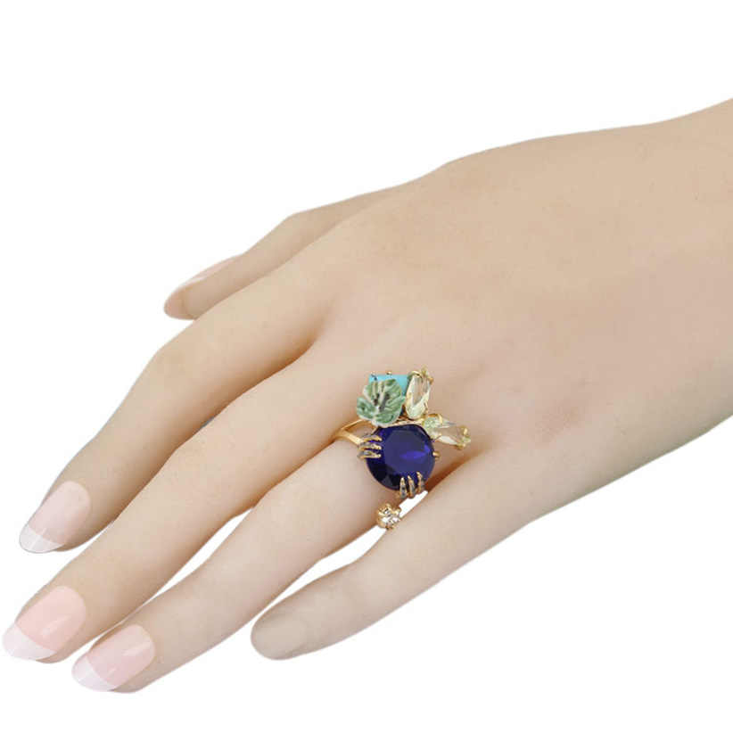 Сочный виноград, синий кристалл, лист, роскошное эмалированное кольцо 2019, женская мода, очаровательные ювелирные изделия, Anelli Donna Bague Femme Anel
