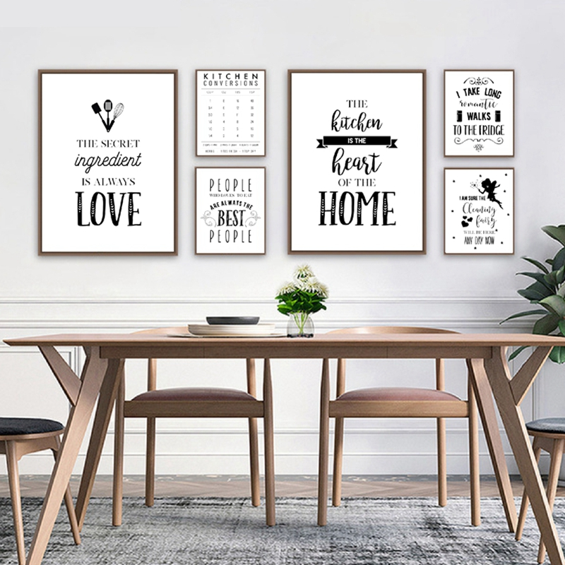 Kitchen Decoration Kitchen Typography Quotes Posters And Prints Black White Canvas Painting Kitchen Wall Art Pictures Decor Aliexpress