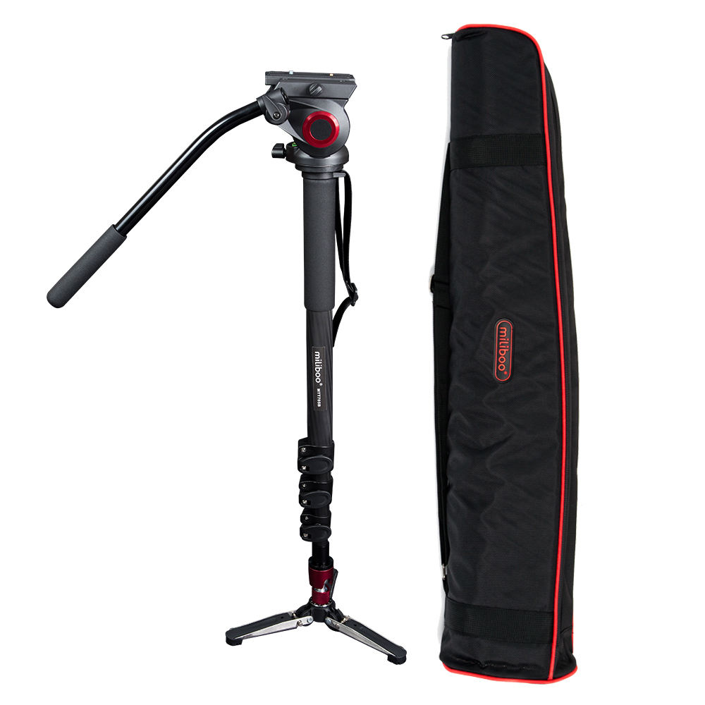 miliboo MTT705B Portable Carbon Fiber Tripod for Professional Camcorder/Video Camera/DSLR Tripod Stand,with Hydraulic Ball Head