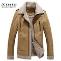 2016 New Arrival Men's Suede Leather Jacket Short Shearling Coats Winter Clothing Warm Outwear Top Quality