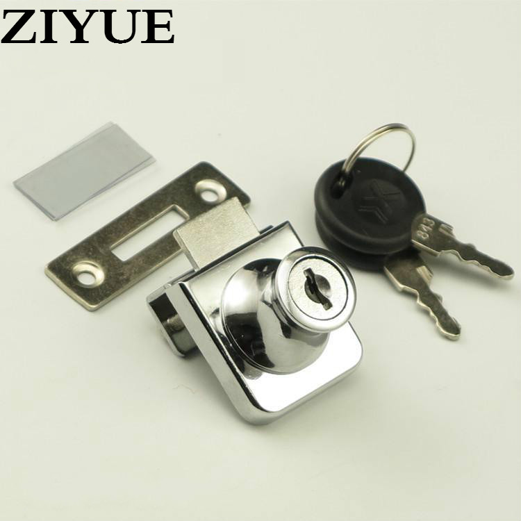free shipping zinc alloy showcase sliding glass door lock for single or double glass door lock for showcase office