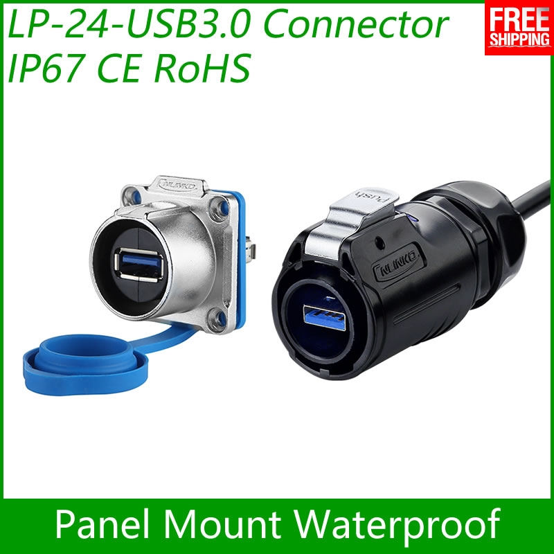 Free Shipping USB3.0 female Socket Panel Mount Adapter Cable Connector Dip quick USB Plug Waterproof Cnlinko Data Interface 1pcs