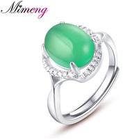 Christmas Gift Gemstone Sterling Silver 925 Open Design Ring Guarantee Natural Green Chalcedony Silver Ring Top