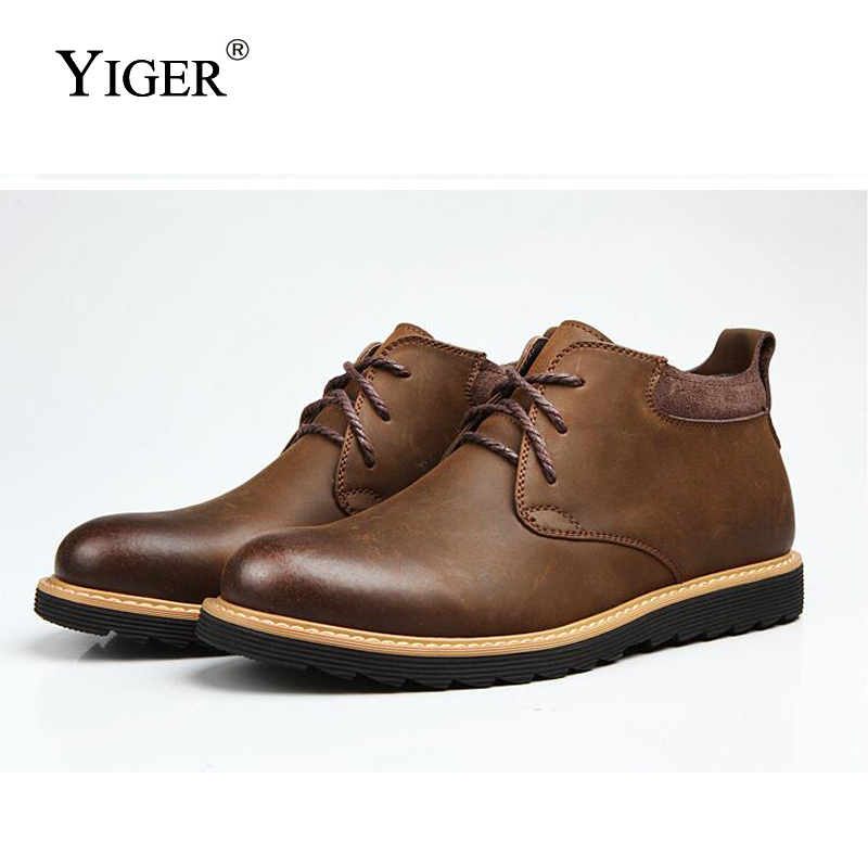 YIGER New 2018 Men Leisure Boots Genuine Leather Ankle Winter With Fur Western  Boots  Casual Retro Lace-up Men's Boots  0125