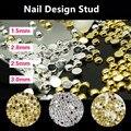 100 unids/lote 1/2mm Japonés Diseño de Oro y Plata de Uñas 3d Flatback a Medias Alrededor de Clavos de Uñas de Metal de Moda Nail Art Decoraciones M098