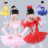 Çocuk Profesyonel Bale Dans Elbise Kız Balo Salonu Dans Yarışması Elbiseler çocuk Modern Caz Kuğu Gölü Tutu elbise