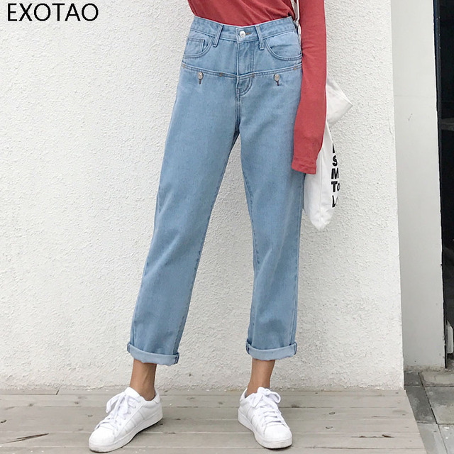 EXOTAO Jean Boyfriend Femme Light Blue High Waits Button Washed Calca Jeans  Straight Loose New Arrival Feminino Denim Pant Women