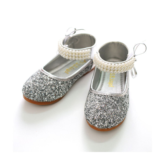 MSMAX Girls Party Shoes Oxford Bling Leather Flat Bead Red Dress Shoes  Children School Shiny Silver Dress Sandals For Girls 0606d9511282