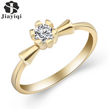 Jiayiqi 2017 Fashion Top Quality Concise Cubic Zirconia Crystal Ring Silver Rose Gold Color Mothers Day Birthday Christmas Gifts(China)