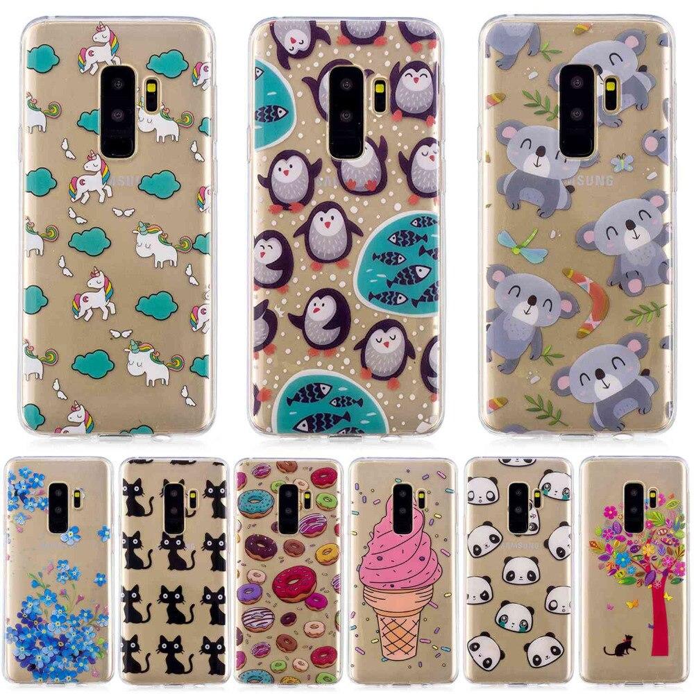 cat penguin Doughnut cactus panda flowers Icecream cartoon Painted phone case For Samsung S9 Plus high Quality TPU cover shell