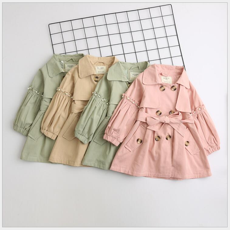 girls wide collar button trench 2018 fall outwear coat for kids girl Solid Color Beading Long Sleeve Fashion Outer Garment fashion slimming stand collar solid color knit splicing long sleeve cotton blend blazer for men