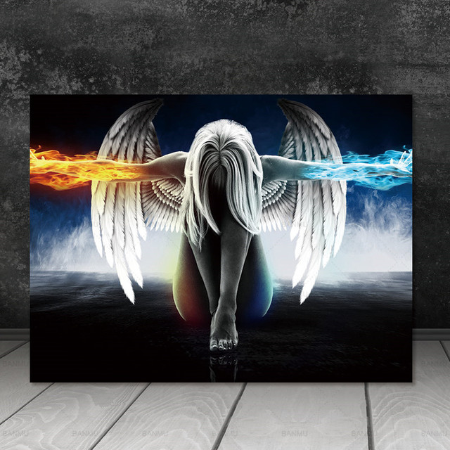 Canvas Painting Wall Art Picture Print Angel And Demon Decor Poster Home