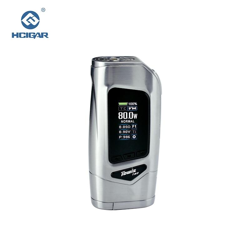 Оригинал Hcigar Towis T80 электронной сигареты коробка Mod с XT80S чипсет 5-80 Вт выход TFT Цвет Экран mod электронная сигарета