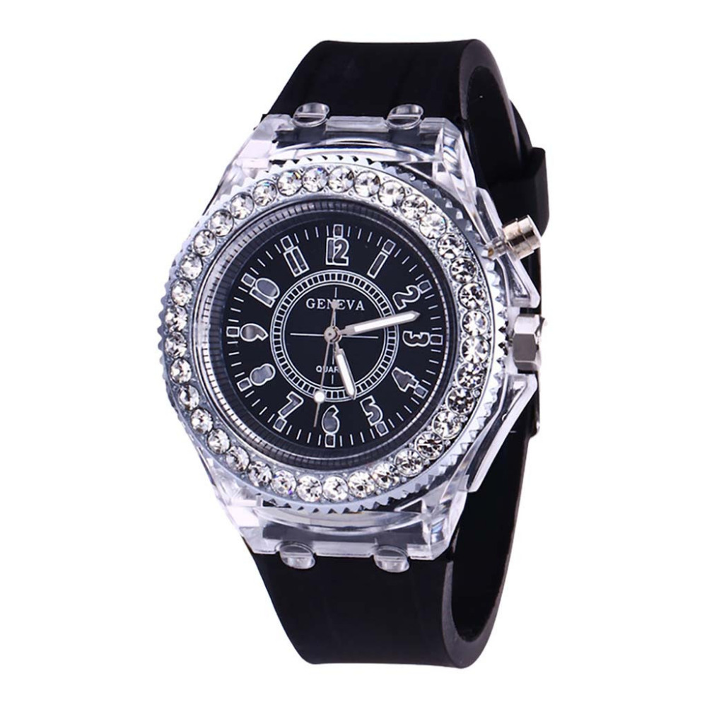 Best Fashion Transparent Neutral Quartz Luminous Female Watch High Quality Luxury Rhinestone Women Watch Clcok  Reloj Mujer #B