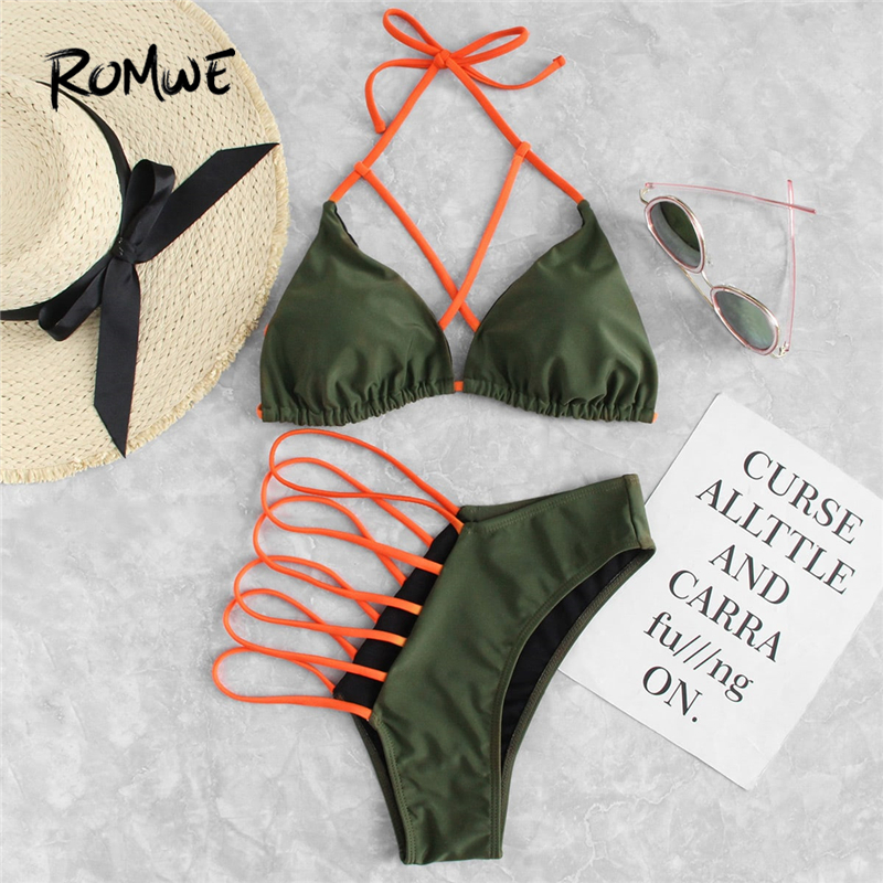 Romwe Sport Army Green Criss Cross Triangle Halter Top With Ladder Cut Out Bottoms Bikinis Set Sexy Women Beach Two-Pieces Suits