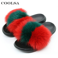 COOLSA 2018 New Women Fur Slippers Fluffy Real Fox Hair Slides Flat Soft Indoor Flip Flops
