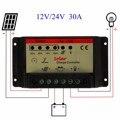 Универсальный 30A 12 В/24 В ШИМ Солнечное Зарядное Устройство Контроллер Батареи Клетки Зарядки Регулятор Pro Автоматической идентификации