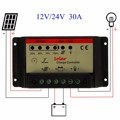 Universal 30A 12V/24V PWM Solar Panel Charger Controller Battery Batteries Cells Charging Regulator Pro Automatic identification