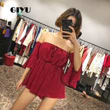 GIYU Summer Slash Neck Wrap Bodysuits Women Solid Loose Overalls Sexy Backless Front Tie Up Romper Flare Sleeve Playsuits 2019 недорго, оригинальная цена
