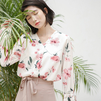 Autumn Work Lady Chiffon Blouses 2017 New Arrival Elegant Sexy V Neck Blouses White Female Shirt